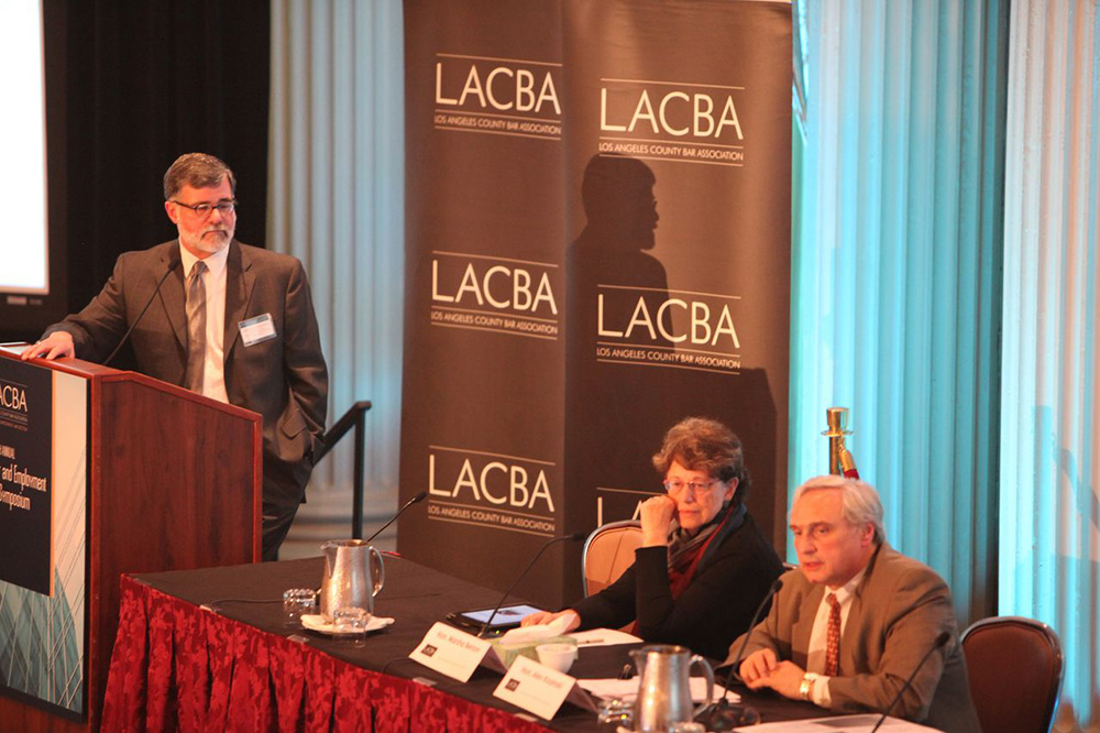 Michael Robbins with Hon. J. Alex Kozinski, Chief Judge for the Ninth Circuit and Hon. J. .. Marsha Berzon, Judge for the Ninth Circuit,  at the Los Angeles County Bar Association's 33rd Annual Labor and Employment Law Symposium.